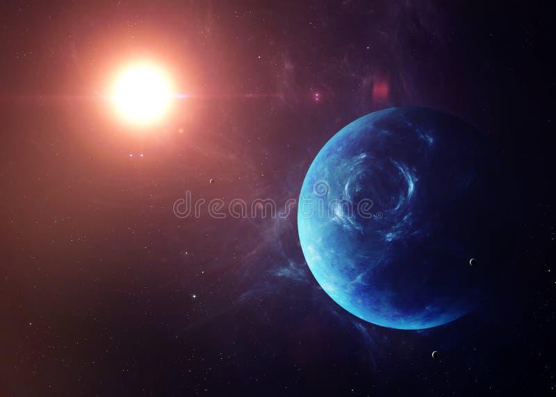 与月亮的海王星从显示所有他们的空间 免版税库存照片