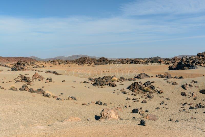 与月亮表面的火山风景在国家公园在特内里费岛的El泰德峰在西班牙 免版税库存图片