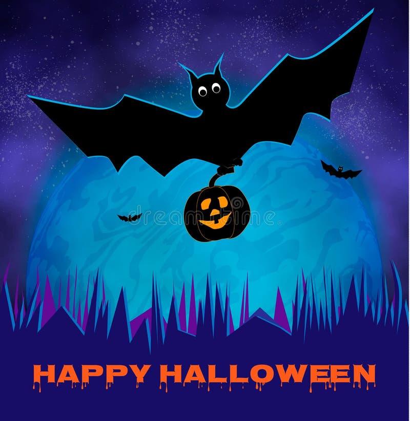 与月亮,棒的愉快的万圣夜发光的夜背景 动画片鬼的党邀请、卡片和飞行物,装饰元素 向量例证