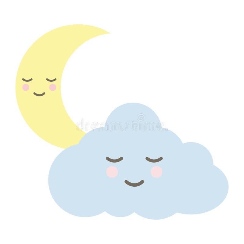 与月亮kawaii字符的逗人喜爱的云彩 皇族释放例证