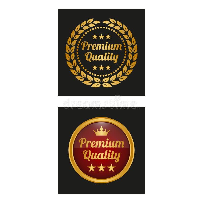 与月桂树的优质质量标签在两个版本缠绕 向量例证