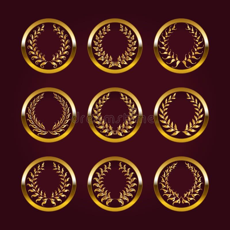 与月桂树花圈的豪华金标签 向量例证