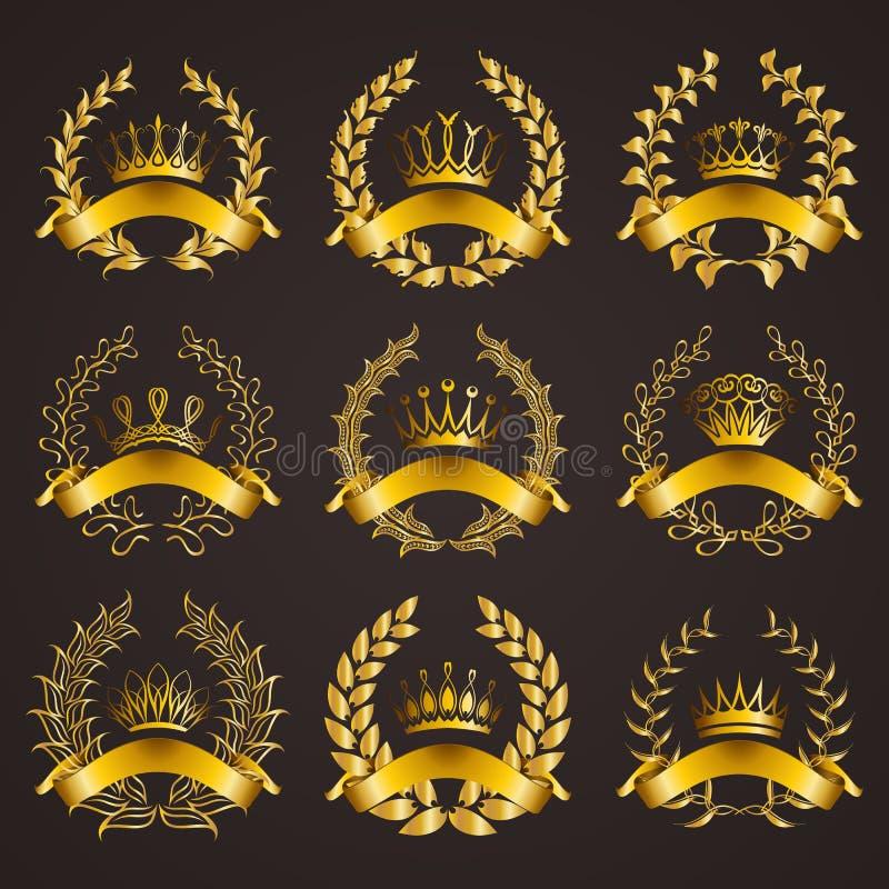 与月桂树花圈的豪华金标签 皇族释放例证