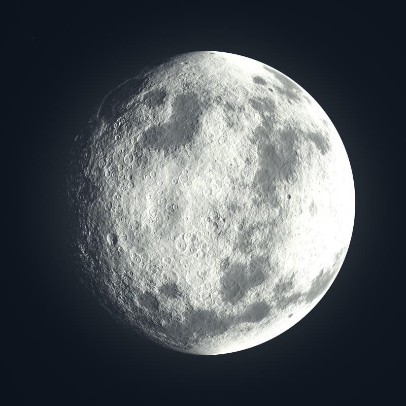 与月面环形山的月亮 皇族释放例证