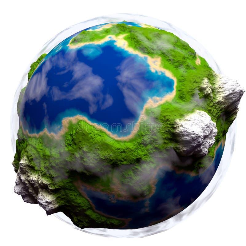 与有些云彩的动画片地球 库存例证
