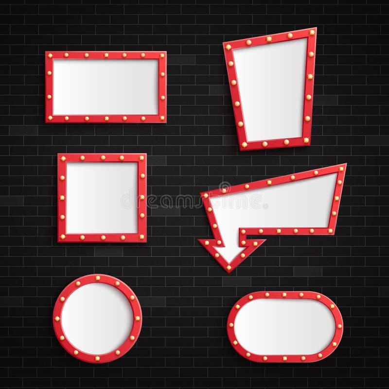 与有启发性电灯泡的减速火箭的红色空白的框架在现实样式的黑暗的砖墙背景 库存例证