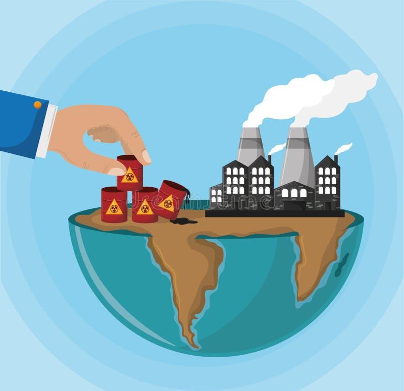 与有害废料和工业工厂的半地球 向量例证