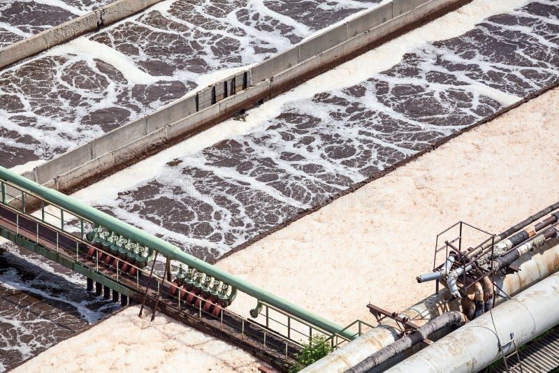 与有氧生物学过程的废水的二级处理系统 免版税库存图片