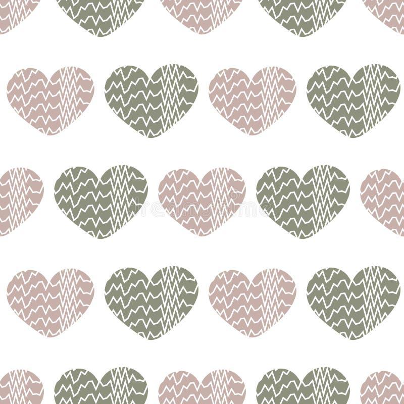 与有的心脏的无缝的传染媒介样式之字形纹理 库存例证