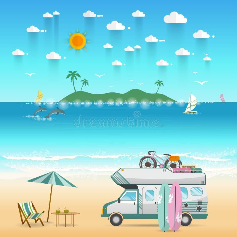 与有蓬卡车露营车的夏天海滩野营的海岛风景 库存例证
