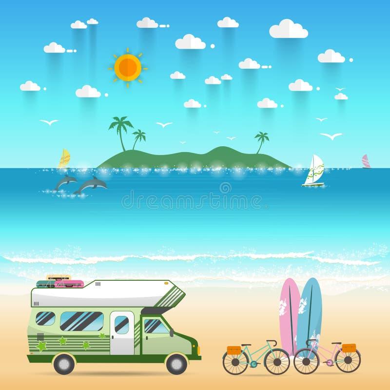 与有蓬卡车露营车的夏天海滩野营的海岛风景 向量例证
