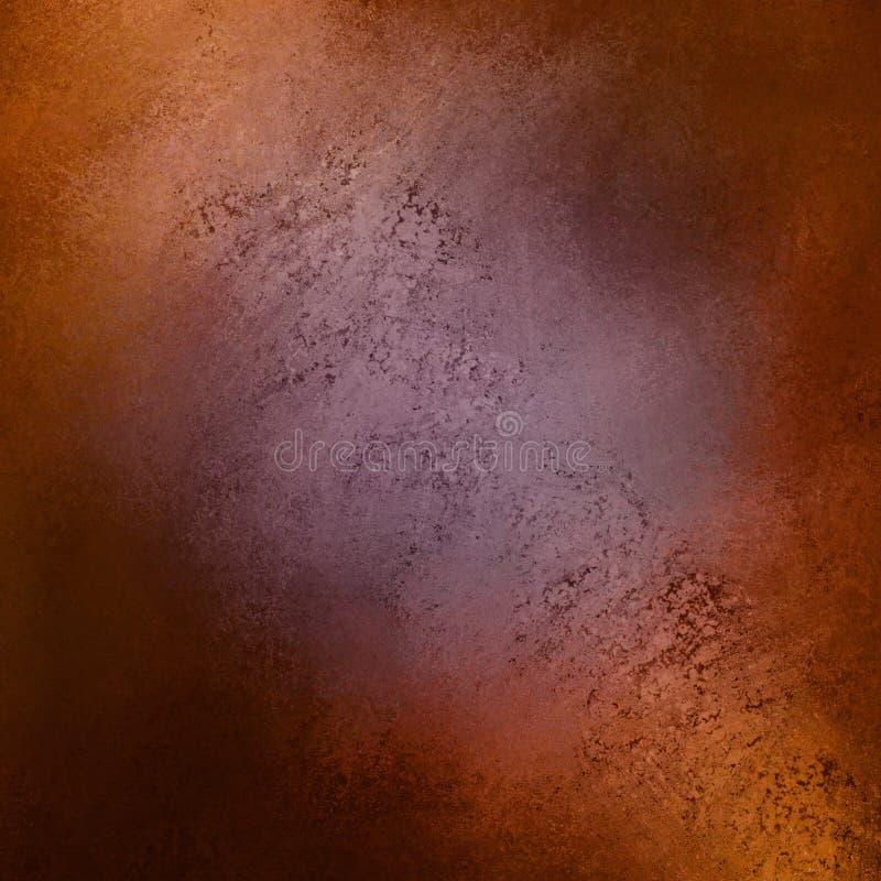 与有裂痕的纹理的紫色橙色棕色和黑背景 皇族释放例证