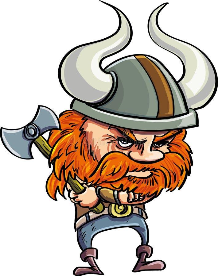 与有角的盔甲的逗人喜爱的动画片北欧海盗 库存照片
