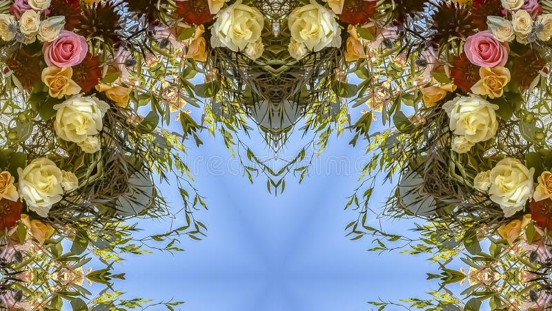 与有趣的角度和五颜六色的花的全景框架花卉设计 向量例证