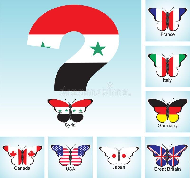 与有问题的国集团七和叙利亚的旗子的蝴蝶 库存例证