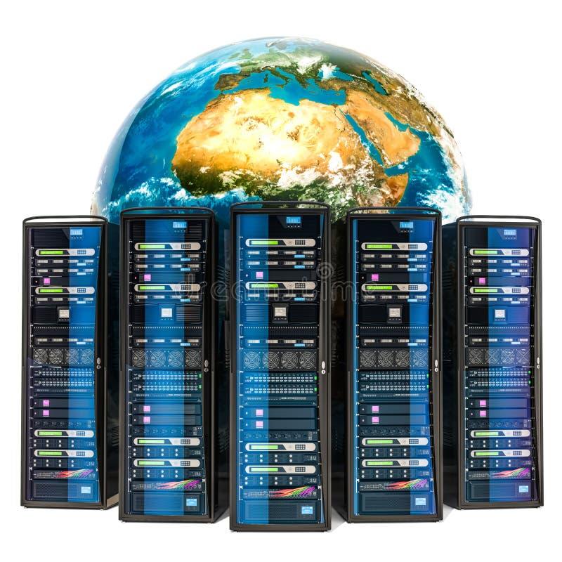 与服务器机架的地球地球 全球性互联网概念, 3D rende 向量例证