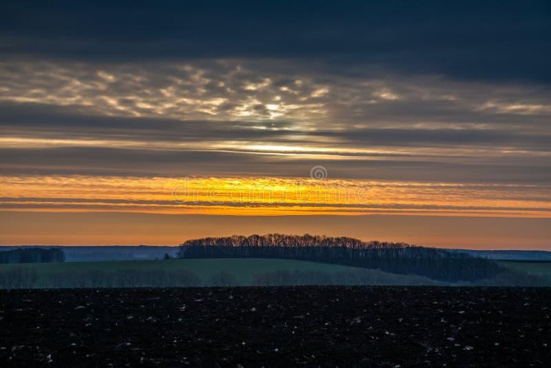 与朝阳的风景 库存图片
