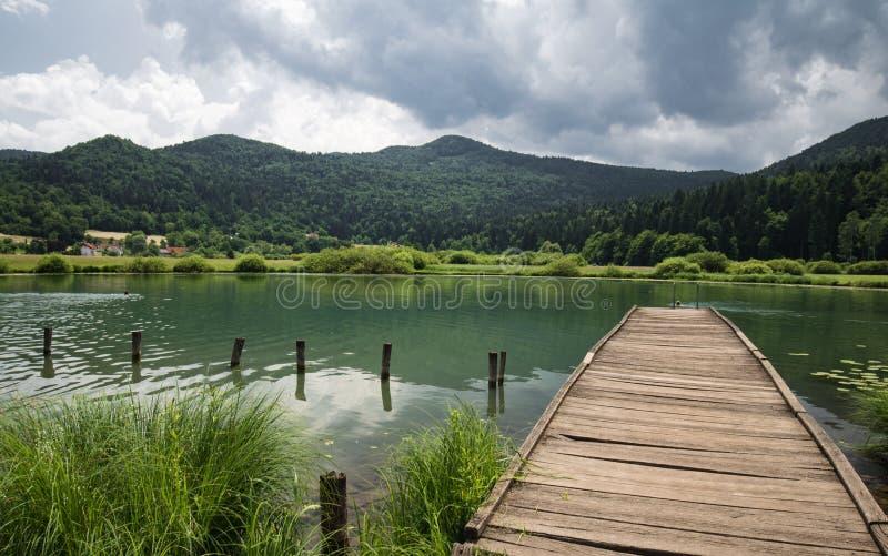 与木人行桥的美丽的景色在湖podpesko,斯洛文尼亚 免版税库存照片