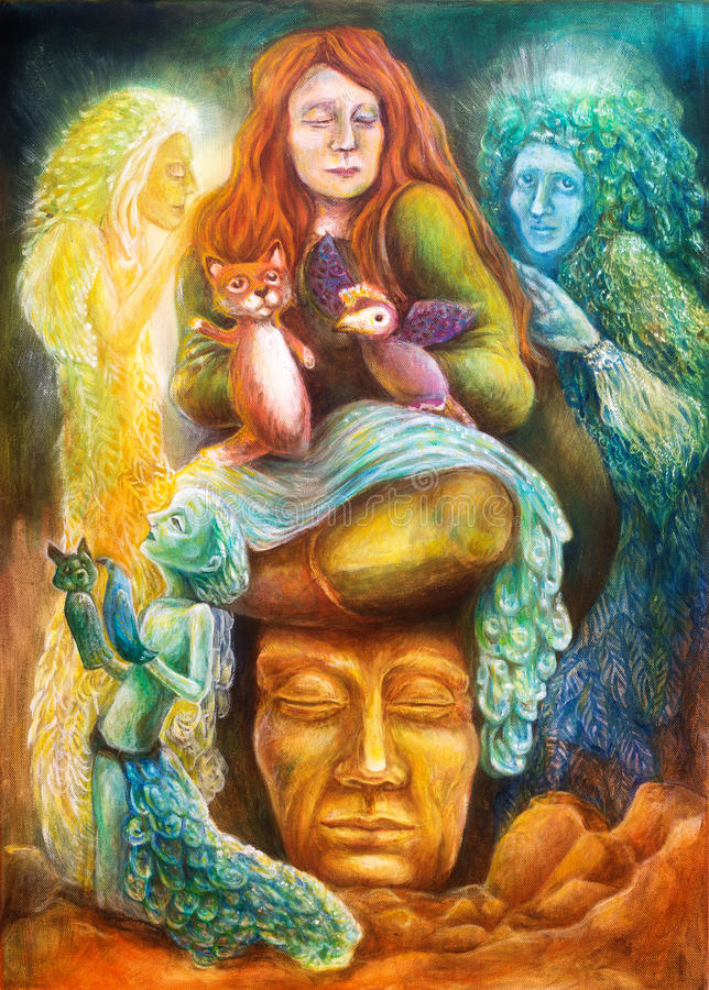 与木偶和防护精神,幻想想象力的一个妇女讲故事的人详述了五颜六色的绘画 皇族释放例证