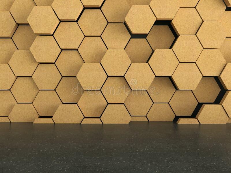 与木六角形样式的地板在黑暗的墙壁背景 库存例证