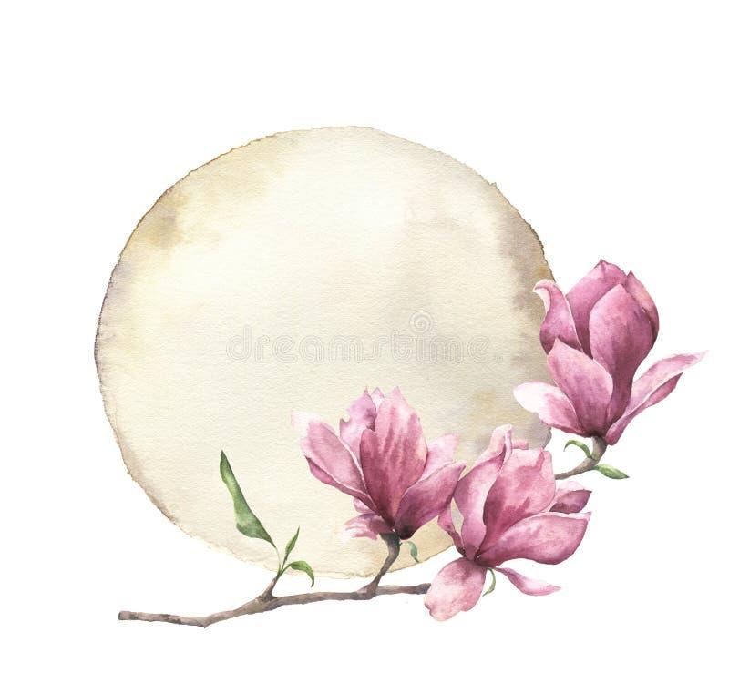 与木兰和老纸的水彩卡片 与在白色背景隔绝的花卉设计的手画纸纹理 皇族释放例证