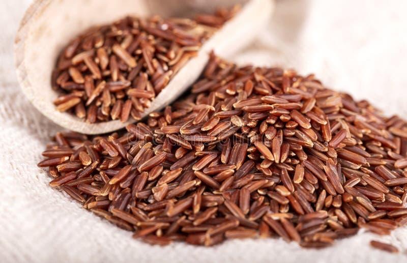 与木匙子的糙米在麻袋布 免版税库存照片