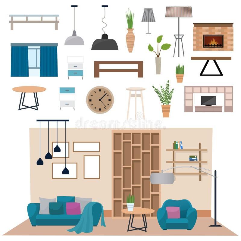 与木地板公寓家具传染媒介例证的现代客厅内部 库存例证