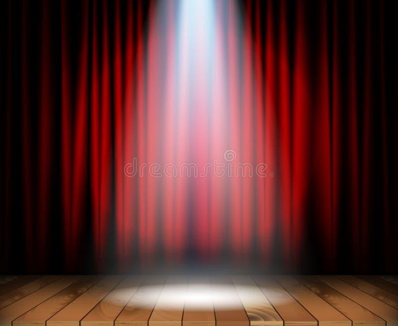 与木地板的剧院阶段 皇族释放例证