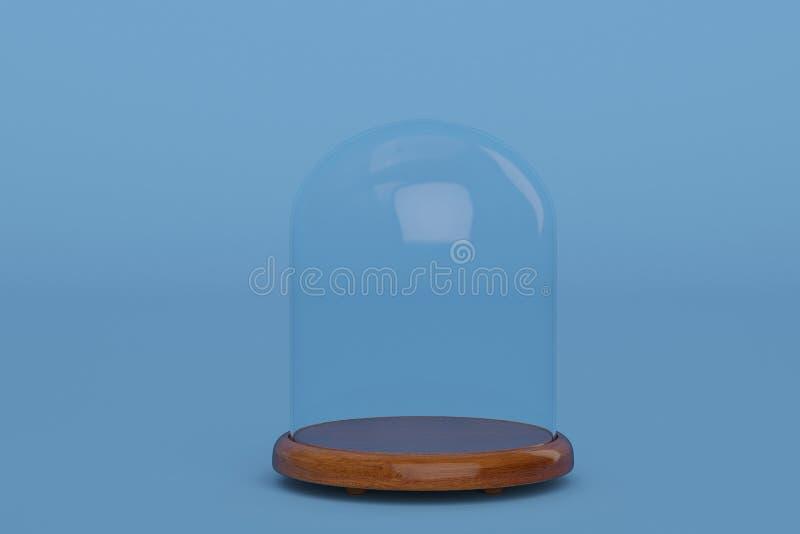 与木基地的玻璃响铃在蓝色背景 3d例证 向量例证
