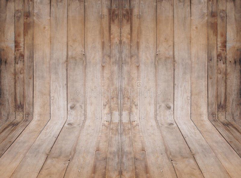 与木墙壁和地板的空的室内部 免版税库存图片
