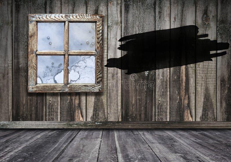 与木墙壁和地板backgrou的室内部葡萄酒窗口 图库摄影