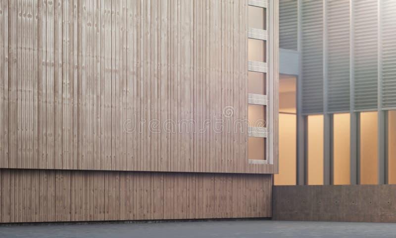 与木墙壁的修造的外部, 3d翻译 免版税库存图片