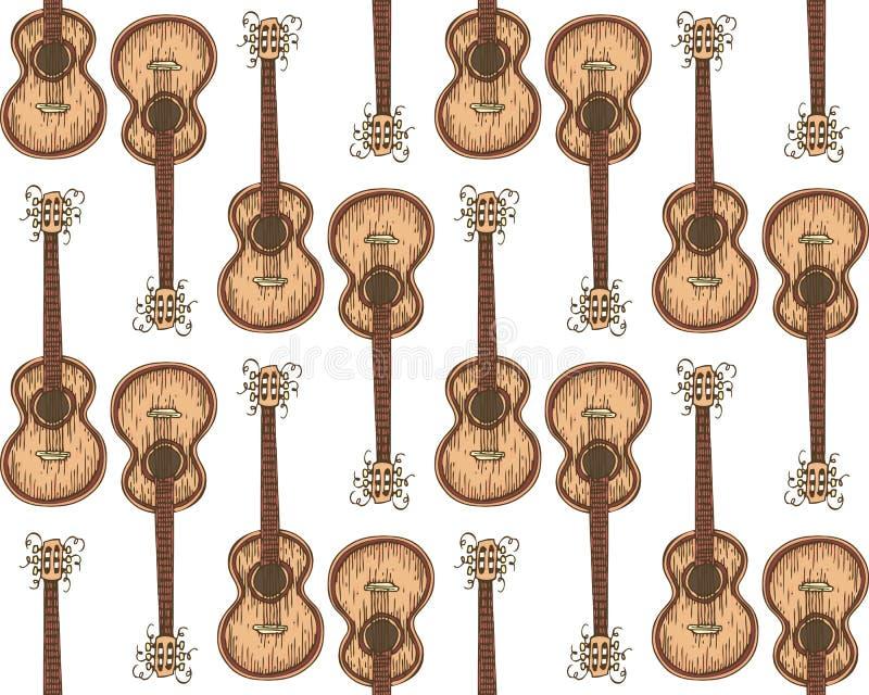 与木声学吉他的无缝的样式 向量例证