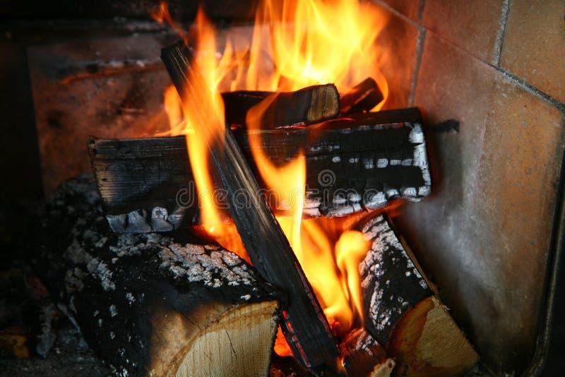 与木头的火在一个生铁火炉 免版税库存照片