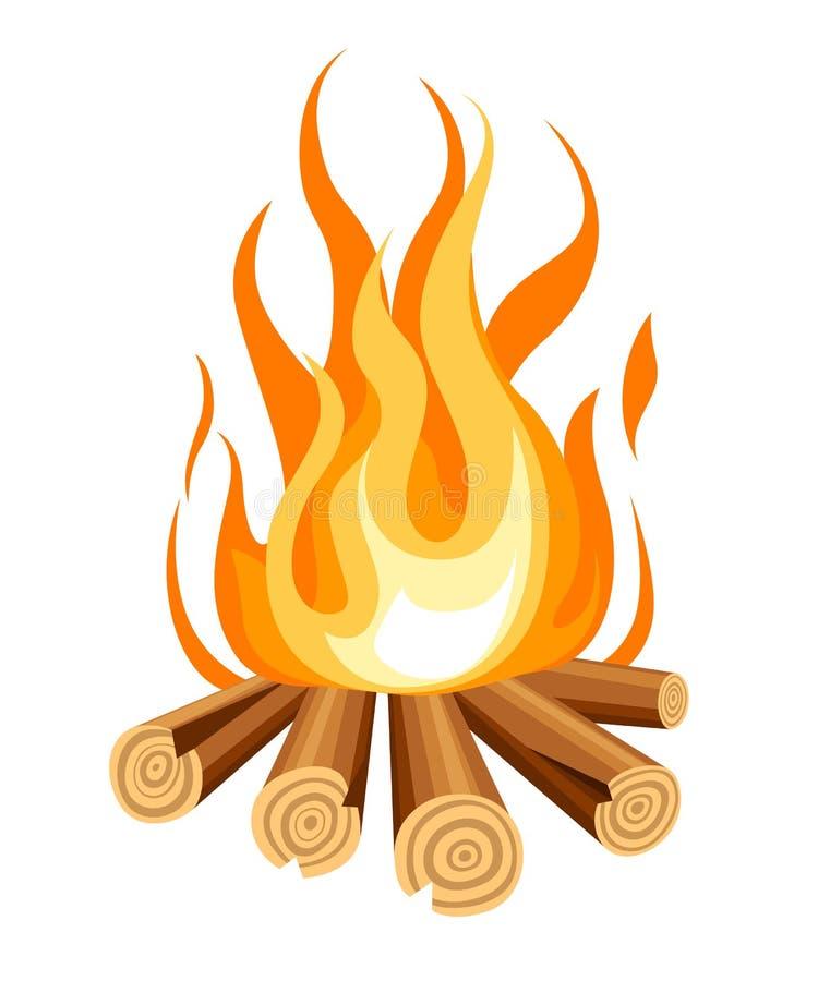 与木头的灼烧的篝火 传染媒介动画片篝火的样式例证 背景查出的白色 向量例证