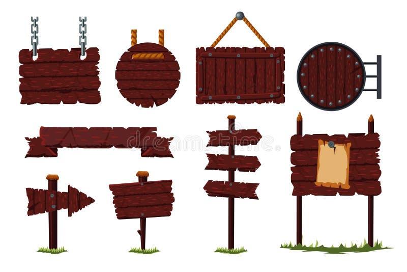 与木委员会和路标被隔绝的传染媒介象集合的动画片木标志集合 游戏设计概念 向量例证
