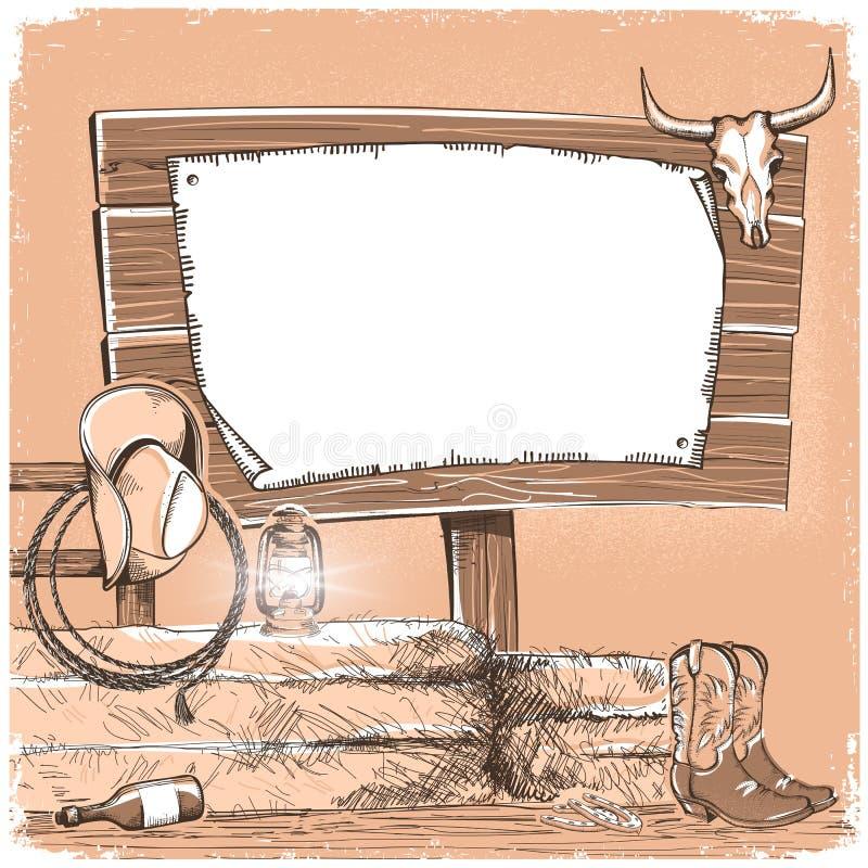 与木委员会的牛仔背景文本的 美国大农场monoc 库存例证