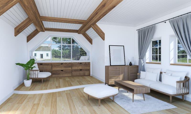 与木家具和分裂平实地板的白色客厅内部 库存例证