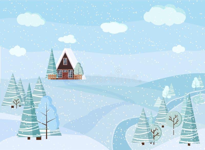 与木屋的冬天多雪的风景自然场面,篱芭,冬天树,云杉,云彩,河,领域 皇族释放例证