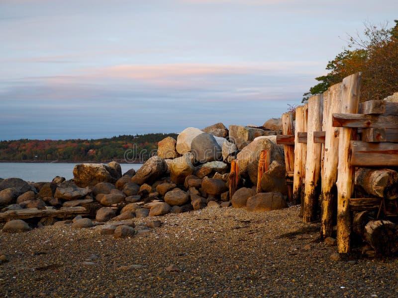 与木打桩的沿海缅因场面 库存图片
