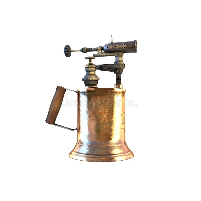 与木把柄和古铜色喷管3d例证的老黄铜喷灯 向量例证