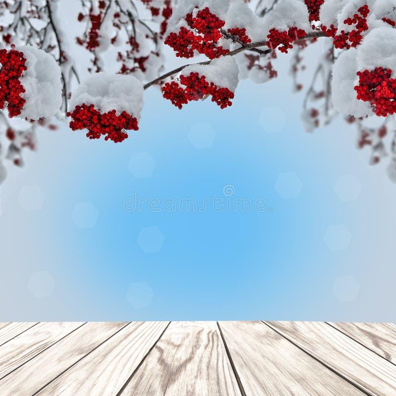 与木板条和红色花楸浆果的圣诞节背景 免版税库存图片
