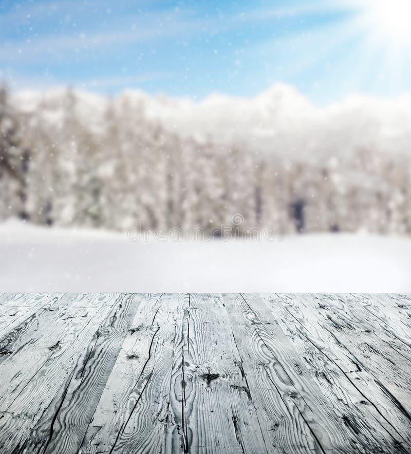 与木板条的冬天风景 库存照片