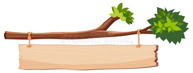 与木标志的树枝 库存例证