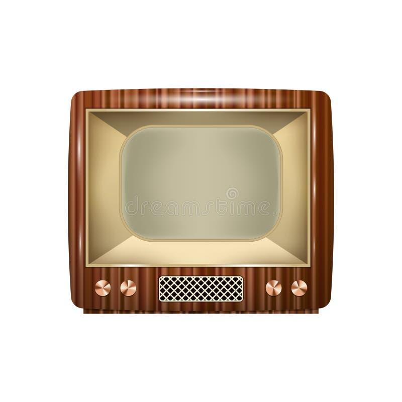 与木案件和黑屏的减速火箭的电视 背景查出的白色 库存例证
