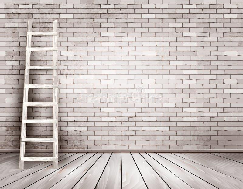 与木梯子的老白色砖墙背景