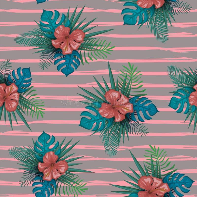 与木槿花的逗人喜爱的植物的无缝的样式和妇女的棕榈叶葡萄酒时髦背景传染媒介例证 库存例证
