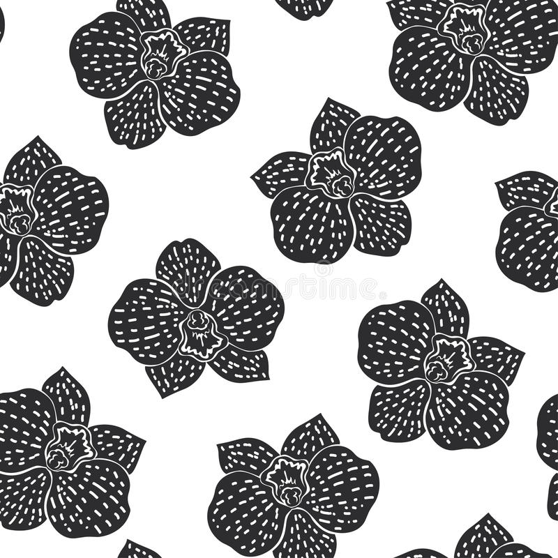 与木槿花的黑白无缝的样式 皇族释放例证