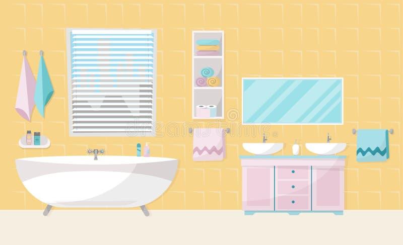 与木盆的现代卫生间内部 卫生间家具-浴,与两个水槽的立场,与毛巾的架子,液体皂,香波,大 向量例证