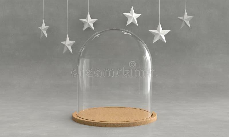 与木盘子的玻璃圆顶在具体背景和垂悬的星 新的主题年 3d翻译 向量例证